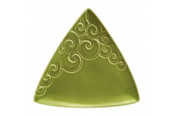 Ceramic Triangle Koru plate – moss green