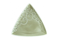 Ceramic Triangle Koru plate – celadon green