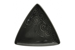 Ceramic Triangle Koru plate – obsidian black
